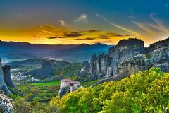Monasteries on the rocks, Meteora, Greece Stock Photo