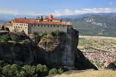 Monasteries on the rocks in Meteora Royalty Free Stock Images