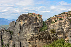 Monasteries on top of Meteora rocks in Greece Royalty Free Stock Photography