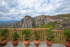 Monasteries on top of Meteora rocks in Greece Stock Photo