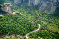 Monasteries on the top of rock in Meteora, Greece Royalty Free Stock Photos
