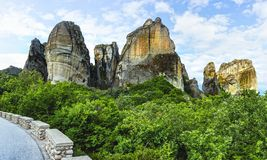 Monasteries on the top of rock. In summer day in Meteora, Greece stock photography