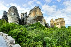 Monasteries on the top of rock. In summer day in Meteora, Greece stock image