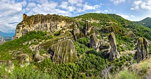 Monasteries on the top of rock. In summer day in Meteora, Greece stock images