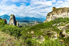 Monasteries on the top of rock. In summer day in Meteora, Greece royalty free stock photos