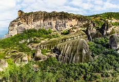 Monasteries on the top of rock. In summer day in Meteora, Greece stock photos