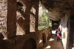 Monasterio benedictino cenobitic exterior Bigues i Riells Sant Miquel del Fai Catalonia Barcelona Spain de Sant Miquel del Fai de Imagenes de archivo