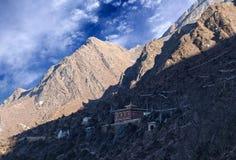 Monasterio budista de Tengboche del tibetano famoso antiguo en Sagarmath imagenes de archivo