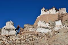 Monasterio budista en el pueblo de Basgo en Ladakh en la India Fotografía de archivo libre de regalías