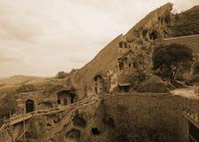 Monasterio David Gareja Grotto Wall fotografía de archivo