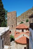 Monasterio de Agios Panteleimon, isla de Tilos imágenes de archivo libres de regalías