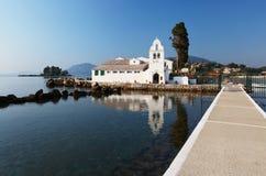 Monasterio de Kanoni en Corfú, Grecia Fotos de archivo