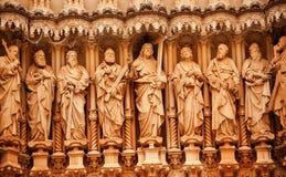 Monasterio de las estatuas del discípulo de Cristo de Montserrat España fotos de archivo libres de regalías