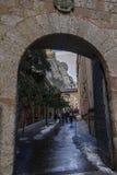 Monasterio de Montserrat de la entrada, Barcelona Imagenes de archivo