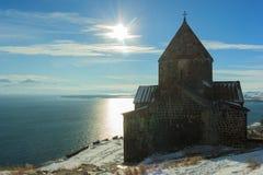 Monasterio de Sevanavank en invierno Imagenes de archivo