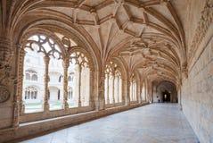 Monasterio del pasillo de Jeronimos Foto de archivo