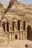 Monasterio en el Petra, Jordania Imagen de archivo libre de regalías