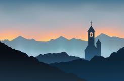 Monasterio en la montaña stock de ilustración