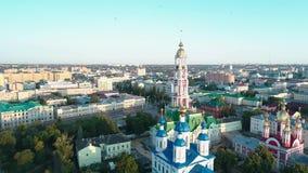 Monasterio en la orilla del r?o Tambov Rusia 13 almacen de video