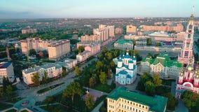 Monasterio en la orilla del r?o Tambov Russia_09 almacen de video