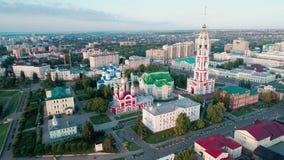 Monasterio en la orilla del r?o Tambov Russia_08 almacen de video