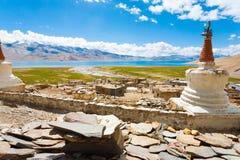 Monasterio H del pueblo de Korzok del lago tso Moriri de Ladakh fotografía de archivo libre de regalías