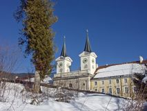 Monasterio nevado Tegernsee en invierno Imagen de archivo libre de regalías