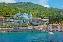 Monasterio ruso famoso Panteleimonos en el monte Athos Fotos de archivo libres de regalías