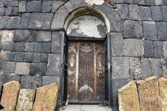 Monasterio tallado de Savanavank de la puerta, Armenia Imagen de archivo libre de regalías