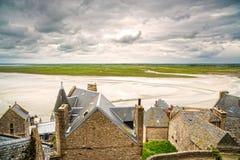 Monasterio y bahía de Mont Saint Michel. Normandía, Francia. Imagenes de archivo