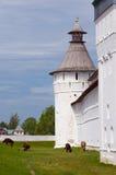 Monasterio y vacas de la pared Fotos de archivo libres de regalías