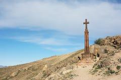 Monastero antico vicino trasversale cristiano Khor Virap immagini stock libere da diritti