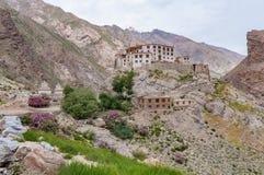 Monastero buddista isolato in montagne con gli arbusti rosa di fioritura Immagini Stock Libere da Diritti