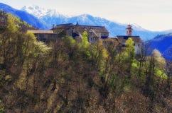 Monastero Claro, Switzerland, Ticino. Spring view on monastery Claro, in the mountains of Ticino in Switzerland Royalty Free Stock Image