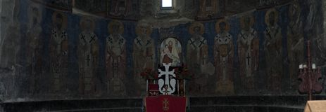 Monastero di Akhtala o murali di Surp Astvatsatsin in Armenia fotografia stock