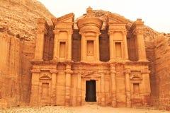 Monastero di Deir nella città antica di PETRA Fotografia Stock Libera da Diritti