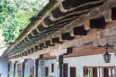 Monastero di legno di Troyan dei modelli in Bulgaria Immagine Stock Libera da Diritti