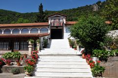 Monastero di Metamorfosi Sotiros in Grecia immagine stock libera da diritti