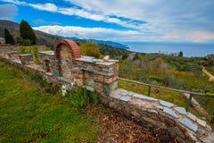 Monastero di Philotheou sul monte Athos fotografia stock libera da diritti
