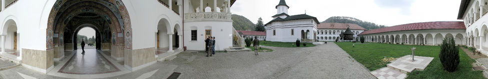 Monastero di Sambata de Sus, 360 gradi di panorama Immagine Stock