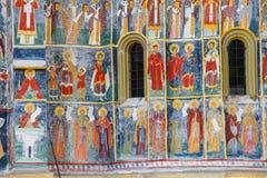 Monastero di Sucevita, uno dei monasteri dipinti famosi in Romania, eredità dell'Unesco, Romania Fotografie Stock