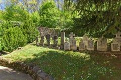 MONASTERO DI TEMSKI, SERBIA - 16 APRILE 2016: Vista del monastero St George, regione di Pirot, Serbia di Temski Fotografia Stock