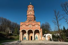 Monastero Djunis con la chiesa della madre dello schermo del ` s di Dio, Serbia fotografie stock libere da diritti