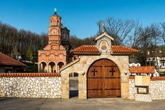 Monastero Djunis con la chiesa della madre dello schermo del ` s di Dio, Serbia fotografie stock