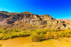 Monastero e città della caverna di Vardzia in roccia, Georgia Fotografie Stock Libere da Diritti
