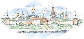 Monastero e fiume russi, illustrazione di vettore Immagine Stock Libera da Diritti