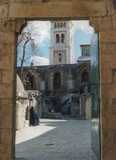 Monastero etiopico sopra la cappella del ` s della Sant'Elena fotografie stock libere da diritti