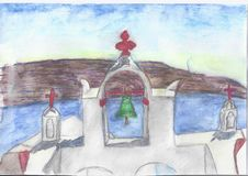 Monastero greco ad alba illustrazione vettoriale