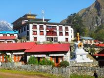 Monastero Nepal del villaggio di Tengboche Immagini Stock
