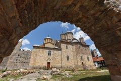 Monastero ortodosso serbo Manasija, sud-ovest vi fotografia stock
